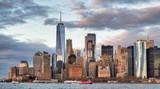 Amazing sunset skyline of Lowr Manhattan from a cruise ship - 266700297