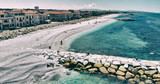 Aerial view of rocks above the water - 266700426