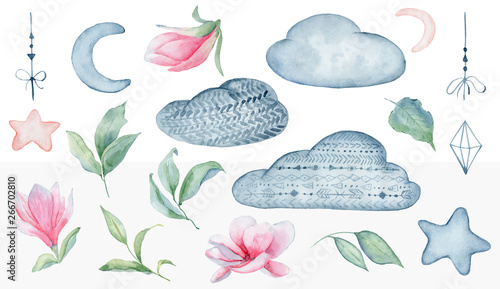Fotografía  Magnolia flowers  and clouds set watercolor illustration