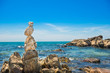 Leinwandbild Motiv Zen stones balance at sea background