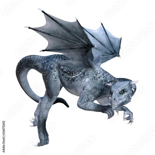 Valokuvatapetti 3D Rendering Fairy Tale Dragon on White