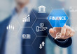 Finance investment and assets management concept with businessman touching icons of stock exchange market, bank, analysis, ROI, money and fintech