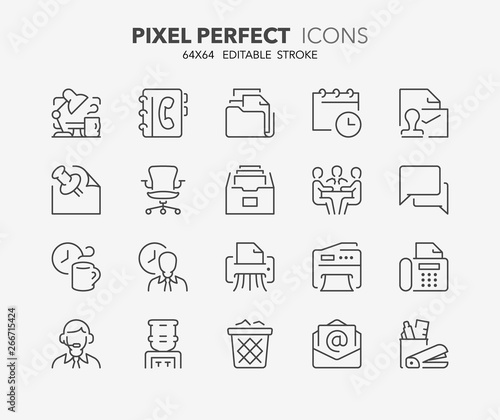 Fotografie, Obraz  office thin line icons
