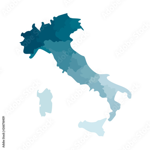 Vector isolated illustration of simplified administrative map of Italy Tablou Canvas