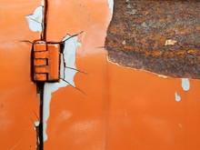 Old Orange Door Car With Crack Texture
