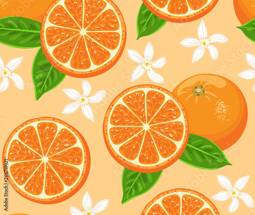 Oranges Seamless Pattern Citrus And Fruit Cartoons Green Leaves And Flowers Vector Food Illustration In Cartoon Flat Simple Style Buy This Stock Vector And Explore Similar Vectors At Adobe Stock