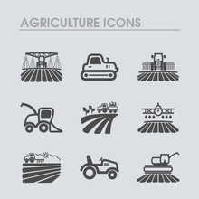 Farm Field Icon. Agriculture Transport Sign