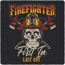 Firefighter Skull. Vintage Lab...