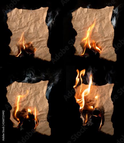 Fotografiet  burning piece of crumpled paper