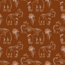 Decorative Seamless Pattern With Elephant White Outline On Brown Background, Mehendi Style, Vector