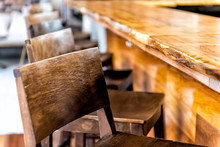 Row Of Empty Wooden Bar Stools...