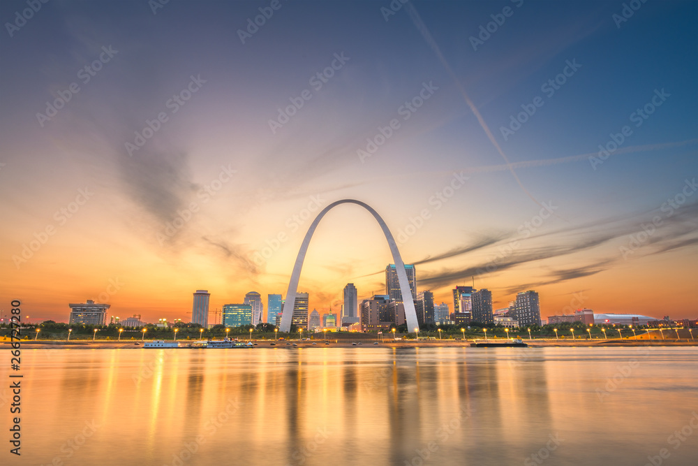 Fototapety, obrazy: St. Louis, Missouri, USA downtown cityscape on the Mississippi