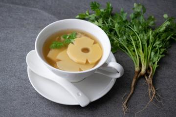 Bamboo shoot soup or bamboo...