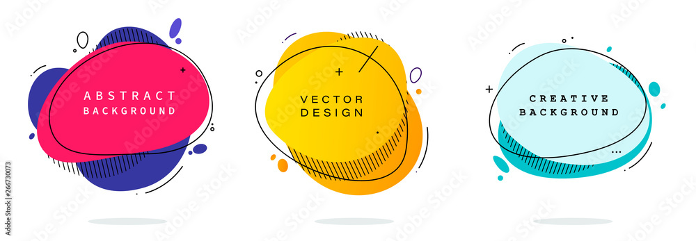 Fototapeta Set of modern abstract vector banners. Flat geometric shapes of different colors with black outline in memphis design style. Template ready for use in web or print design.