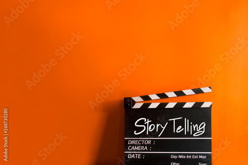 Story telling text title on film slate Canvas Print