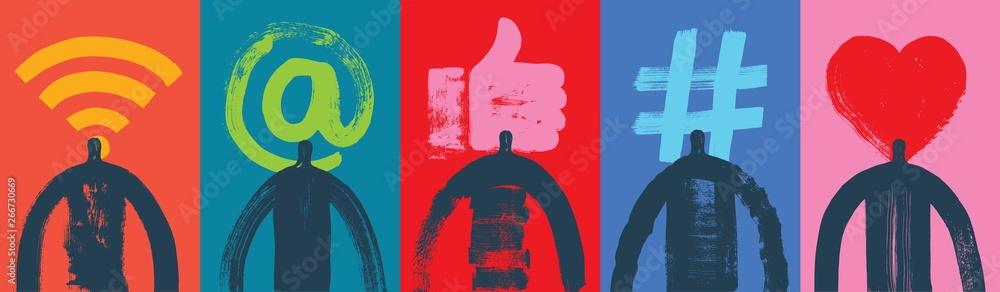 Fototapety, obrazy: Five Head & Shoulders Silhouettes, Vector Illustration, Grunge texture, Social Media Symbols, Colorful Background, Marketing, Influencer, Instagram Followers, Facebook likes, Digital media, Web banner