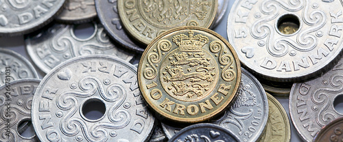 Mixed Danish Kroner coins - directly above in panoramic format. Wallpaper Mural
