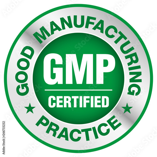 GMP (Good Manufacturing Practice) certified round stamp on white background - Ve Wallpaper Mural