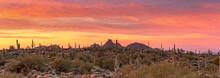 Panoramic View Of  Stunning Desert Sunrise In Scottsdale, Arizona