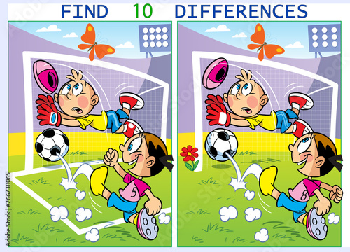 Foto op Canvas Cars On vector illustration children play football. Puzzle find ten differences in the pictures of sports.