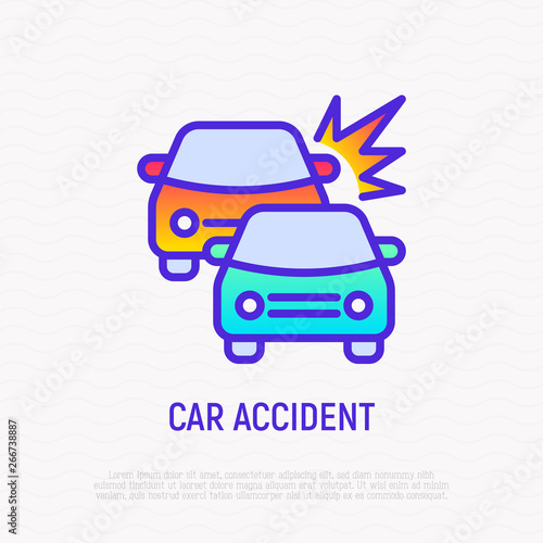 Car accident thin line icon: two cars are crashed each other. Modern vector illustration.