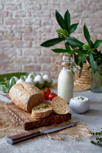 Country Breakfast With Bread, Milk, Egg