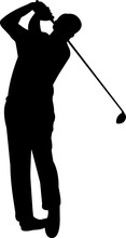 Golfing 7 Isolated Vector Silh...