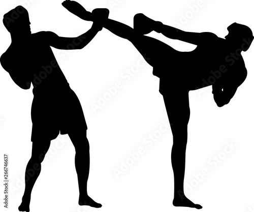 Canvas Print Kickboxing 4 isolated vector silhouette