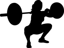 Weightlifting Women 6 Isolated Vector Silhouette