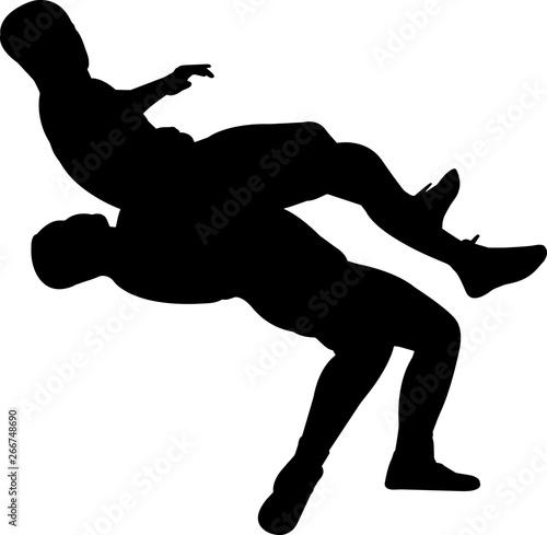 Photo  Wrestling Men 5 isolated vector silhouette