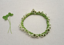 Flower Crowns Of White Clover  On Cotton Linen(22-1)