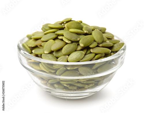 Glass bowl of pumpkin seeds Fototapet