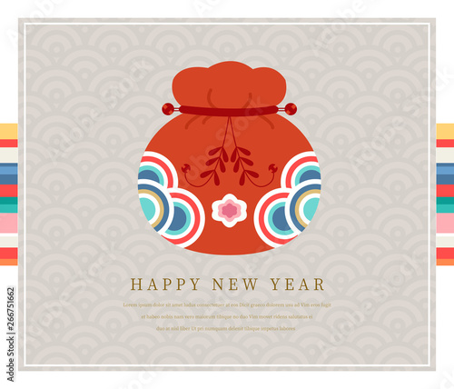 Fotografía Korea tradition new year card, Vector illustration