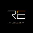 Initial R E RE minimalist modern logo identity vector