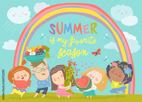Cartoon children with flowers and fruits. Hello summer
