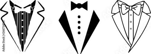 Valokuva tuxedo icon on white background
