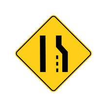 USA Traffic Road Signs.right Lane Ends Ahead.if You Are In The Right - Hand Lane,you Must Merge Safely With Traffic In The Lane To The Left . Vector Illustration