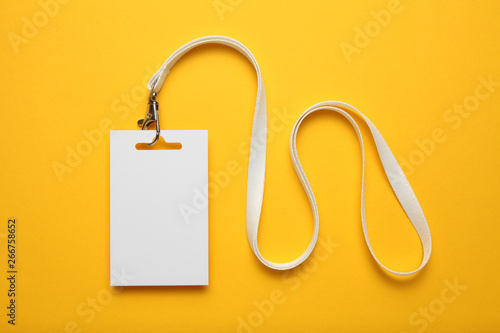 Job identity name tag on yellow background, badge and lanyard Wallpaper Mural