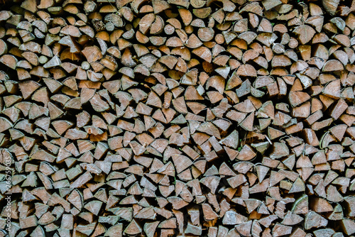 Poster Firewood texture Fire wood at a woodpile