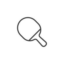 Ping Pong Paddle Line Icon. Li...