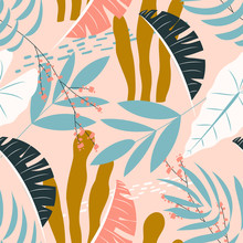 Summer Seamless Tropical Pattern With Plants On A Delicate Background. Vector Design. Flat Jungle Print. Floral Background.