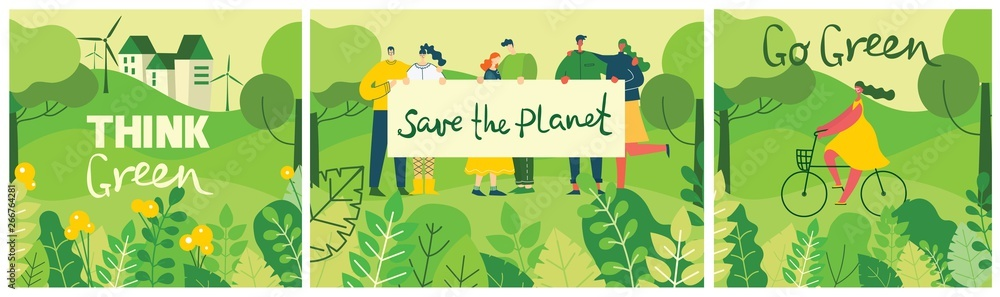 Fototapety, obrazy: Vector illustrations with activists people holding placard on the nature, in the forest with green landscape veiw in the flat design and eco quote Save the planet