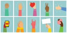 Vector Illustration Of Different Hands Up . Concept Of Unity, Protest, Love, Easter, Smartphone, Friendship, Revolution, Fight, Cooperation. Flat Outline Design