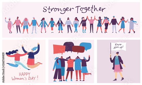 Photo Colorful vector illustrations concept of Happy Woman's internarional day