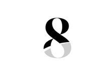 Number 8 Eight Black And White Logo Icon Design