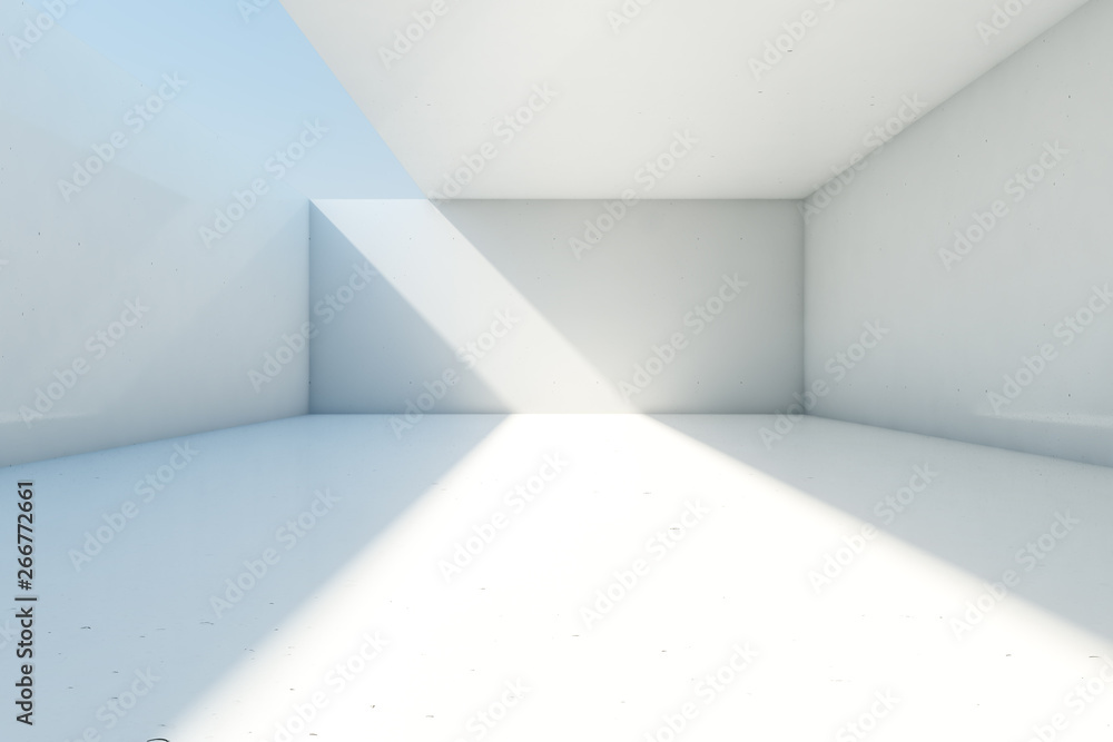 Fototapeta Abstract empty concrete room background with open ceiling and wall, 3d illustration.