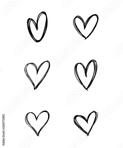 Fotografie, Obraz  Heart doodle collection. Hand drawn hearts.