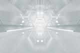 Fototapeta Perspektywa 3d - Abstract hexagon Spaceship corridor. Futuristic tunnel with light. Future interior background, business, sci-fi science concept. 3d rendering