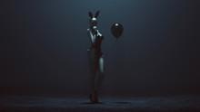 Demon Vampire Bunny Girl In Black Latex And Fishnets And Black Balloon 3d Illustration 3d Render