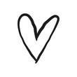 Hand drawn heart doodle. Love symbol.